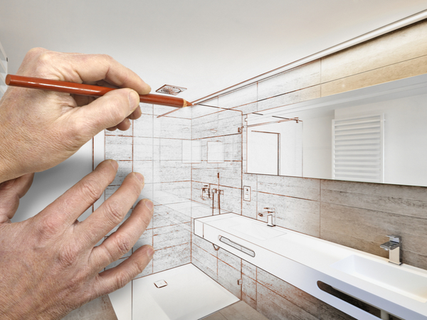 Sketching a bathroom remodel as it comes to life