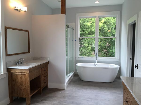 Newer bathroom that uses the bathroom trends and ideas popular in Atlanta