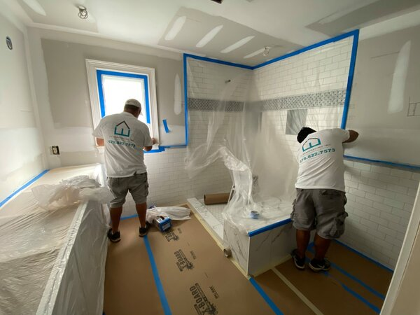 Getting ready to paint is one of the final steps in the bathroom remodeling timeline